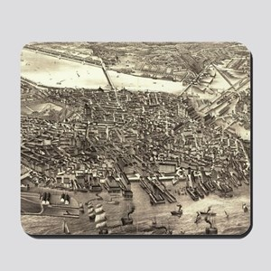 Vintage Pictorial Map of Boston (1880) Mousepad
